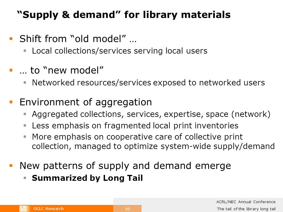 OCLC Research The tail of the library long tail ACRL/NEC Annual Conference 10 Supply & demand for library materials Shift from old model … Local collections/services serving local users … to new model Networked resources/services exposed to networked users Environment of aggregation Aggregated collections, services, expertise, space (network) Less emphasis on fragmented local print inventories More emphasis on cooperative care of collective print collection, managed to optimize system-wide supply/demand New patterns of supply and demand emerge Summarized by Long Tail