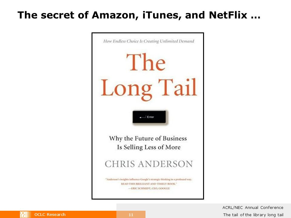 OCLC Research The tail of the library long tail ACRL/NEC Annual Conference 11 The secret of Amazon, iTunes, and NetFlix …