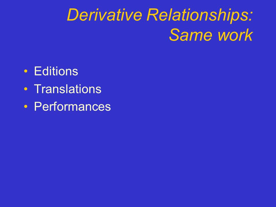 Derivative Relationships: Same work Editions Translations Performances