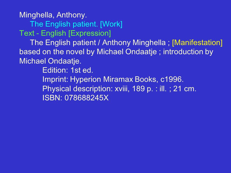 Minghella, Anthony. The English patient. [Work] Text - English [Expression] The English patient / Anthony Minghella ; [Manifestation] based on the nov