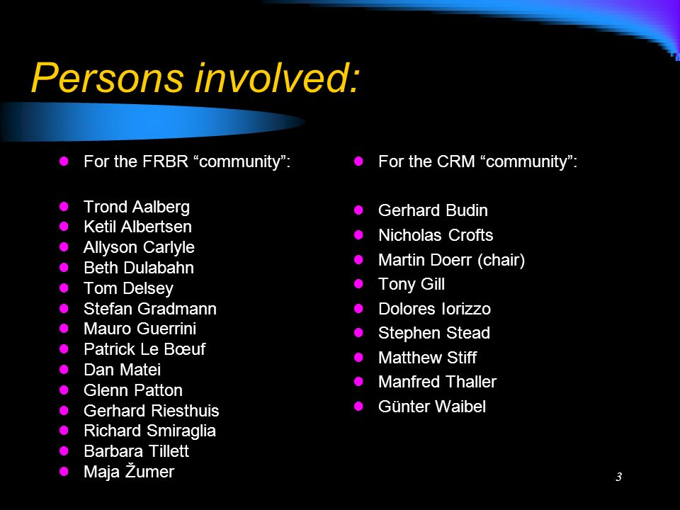 3 Persons involved: For the FRBR community: Trond Aalberg Ketil Albertsen Allyson Carlyle Beth Dulabahn Tom Delsey Stefan Gradmann Mauro Guerrini Patrick Le Bœuf Dan Matei Glenn Patton Gerhard Riesthuis Richard Smiraglia Barbara Tillett Maja Žumer For the CRM community: Gerhard Budin Nicholas Crofts Martin Doerr (chair) Tony Gill Dolores Iorizzo Stephen Stead Matthew Stiff Manfred Thaller Günter Waibel