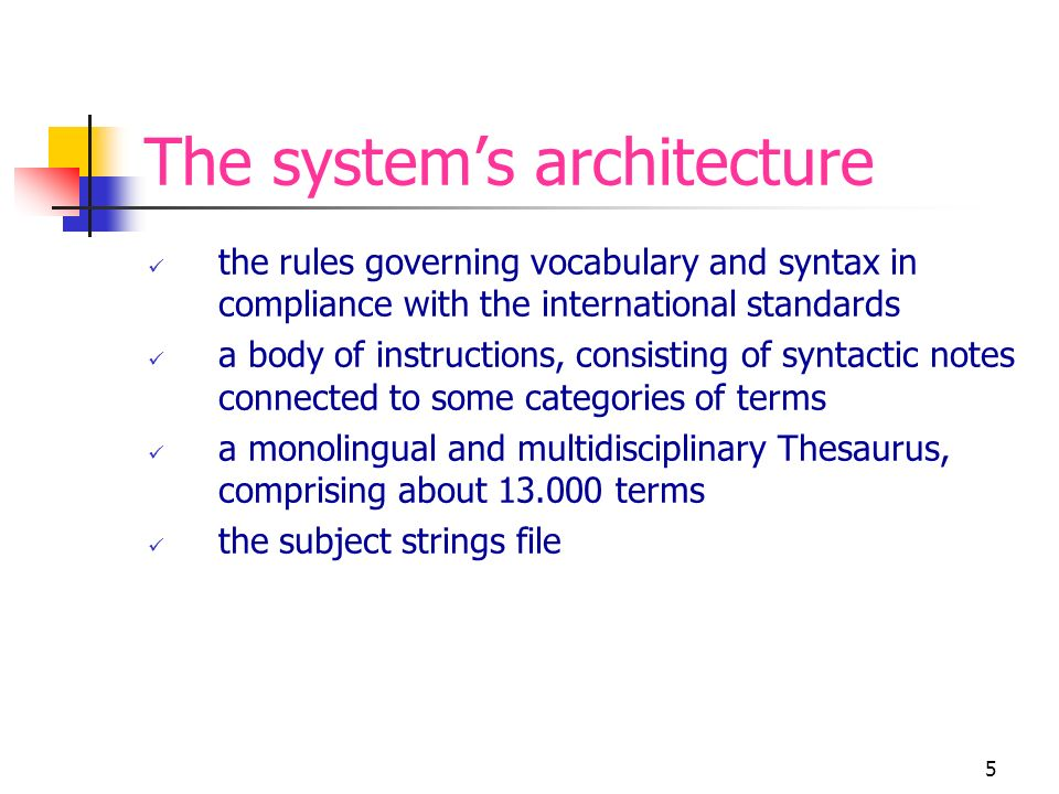 16 Links between the preferred terms of the new Soggettario and the DDC numbers Problems arisen from this work Consistency between the semantic aspect of the preferred terms and their different meaning in the DDC How to integrate the facet analysis used to categorize terms with the disciplinary logic of the DDC The structure of the Thesaurus has been given the definition of moderate polyhierarchy, that is, tending to a monohierarchical structure Interdisciplinary or comprehensive treatment of each concept: missing other information dealing with the concept within specific disciplines