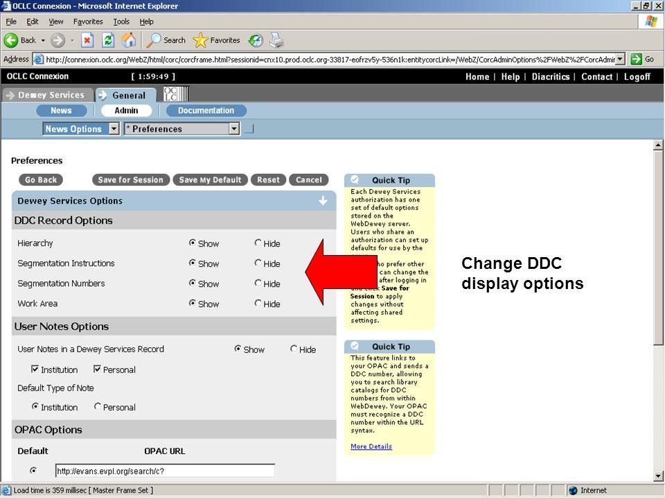 Change DDC display options