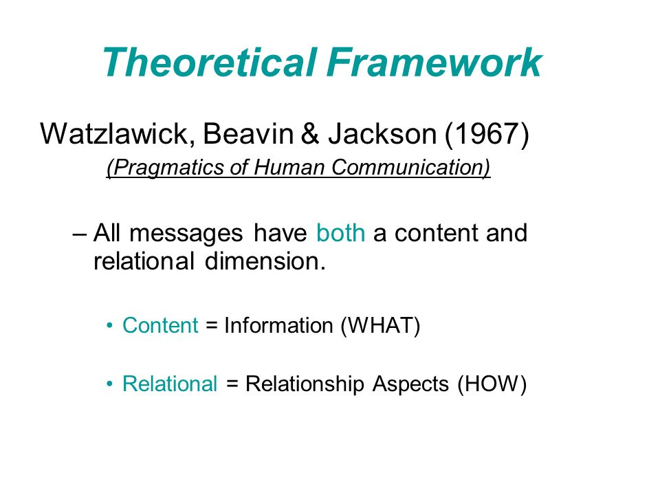 Theoretical Framework Watzlawick, Beavin & Jackson (1967) (Pragmatics of Human Communication) –All messages have both a content and relational dimension.