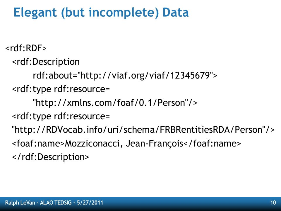 Ralph LeVan – ALAO TEDSIG – 5/27/201110 Elegant (but incomplete) Data <rdf:Description rdf:about=