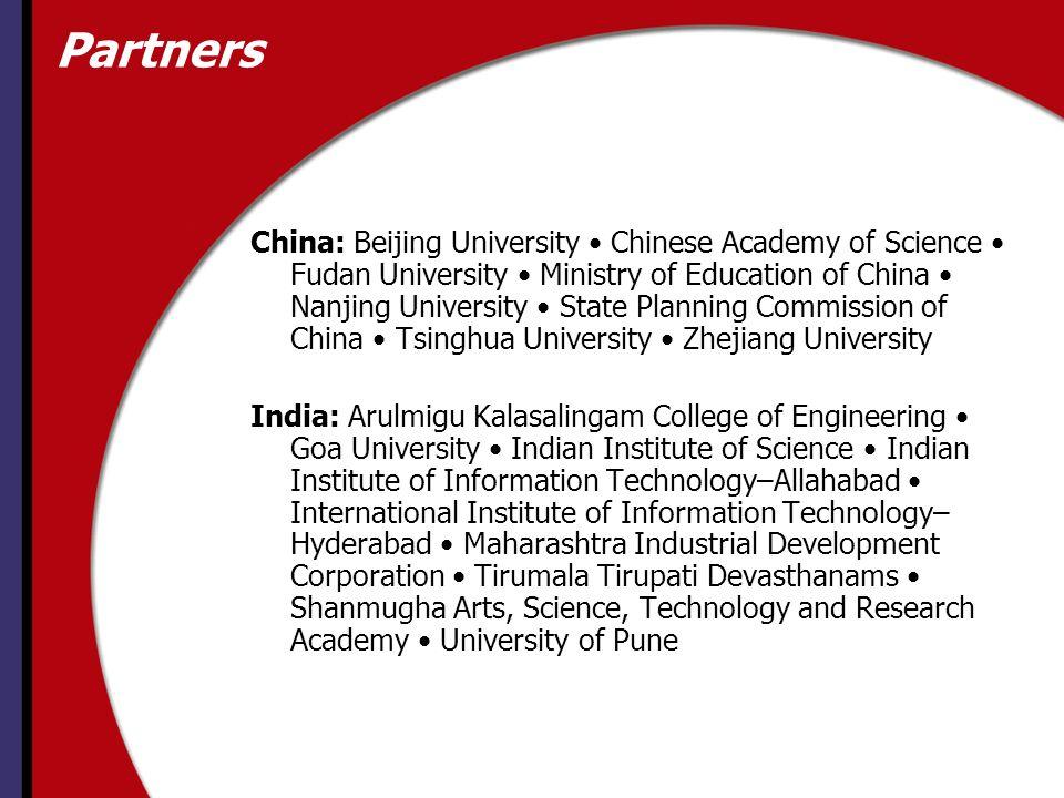 Partners China: Beijing University Chinese Academy of Science Fudan University Ministry of Education of China Nanjing University State Planning Commis