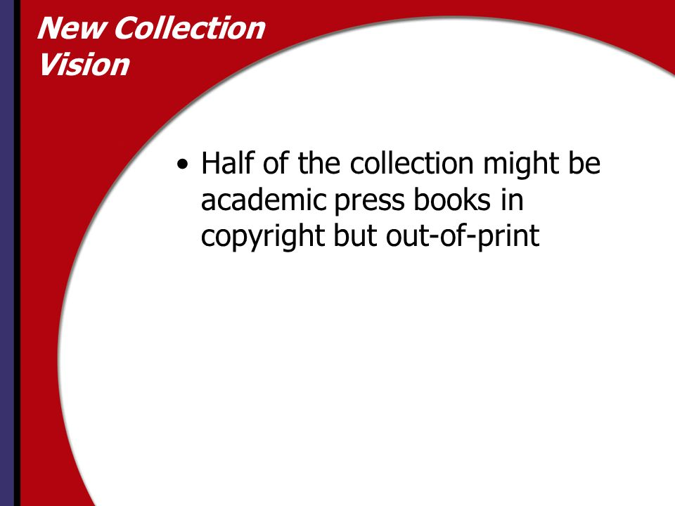 New Collection Vision Half of the collection might be academic press books in copyright but out-of-print