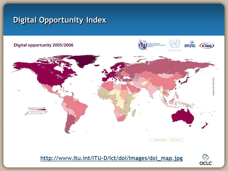 Digital Opportunity Index http://www.itu.int/ITU-D/ict/doi/images/doi_map.jpg