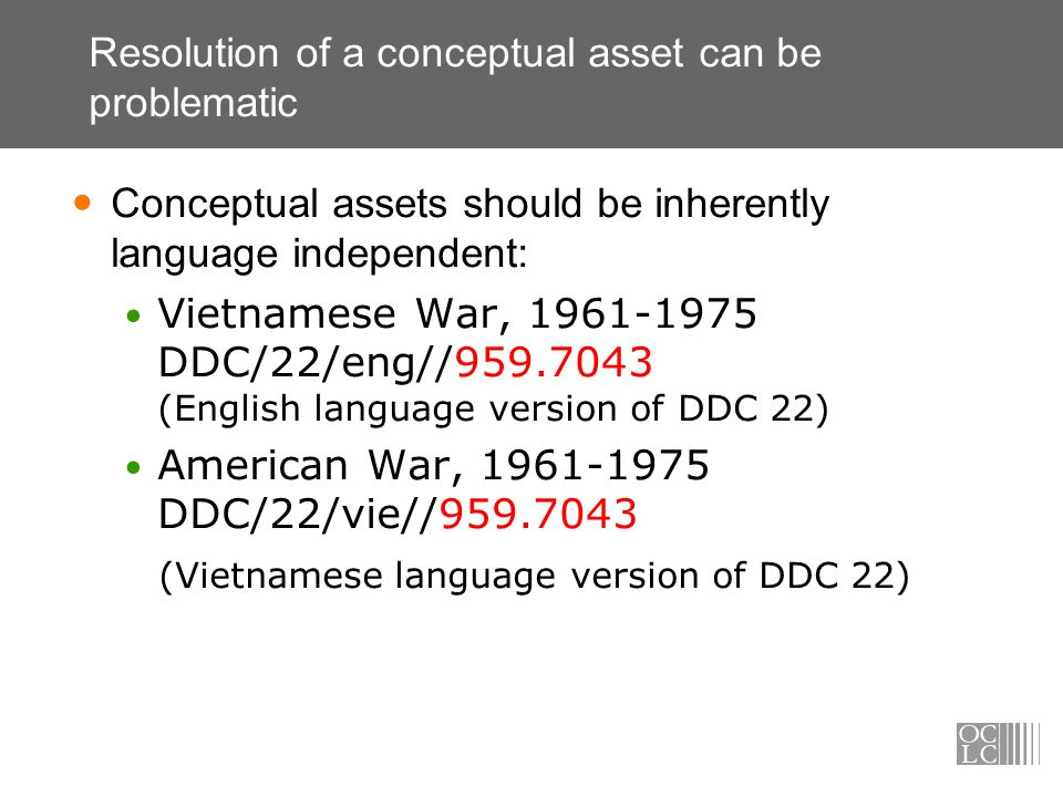 Resolution of a conceptual asset can be problematic Conceptual assets should be inherently language independent: Vietnamese War, 1961-1975 DDC/22/eng/