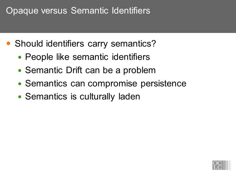 Opaque versus Semantic Identifiers Should identifiers carry semantics? People like semantic identifiers Semantic Drift can be a problem Semantics can