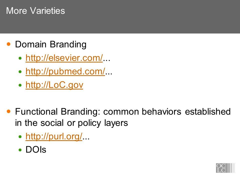 More Varieties Domain Branding http://elsevier.com/... http://elsevier.com/ http://pubmed.com/... http://pubmed.com/ http://LoC.gov Functional Brandin