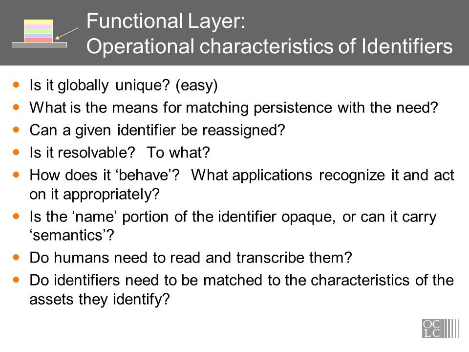 Functional Layer: Operational characteristics of Identifiers Is it globally unique.