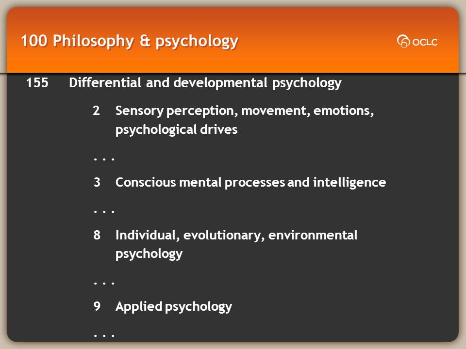 100 Philosophy & psychology 155 Differential and developmental psychology 2Sensory perception, movement, emotions, psychological drives...