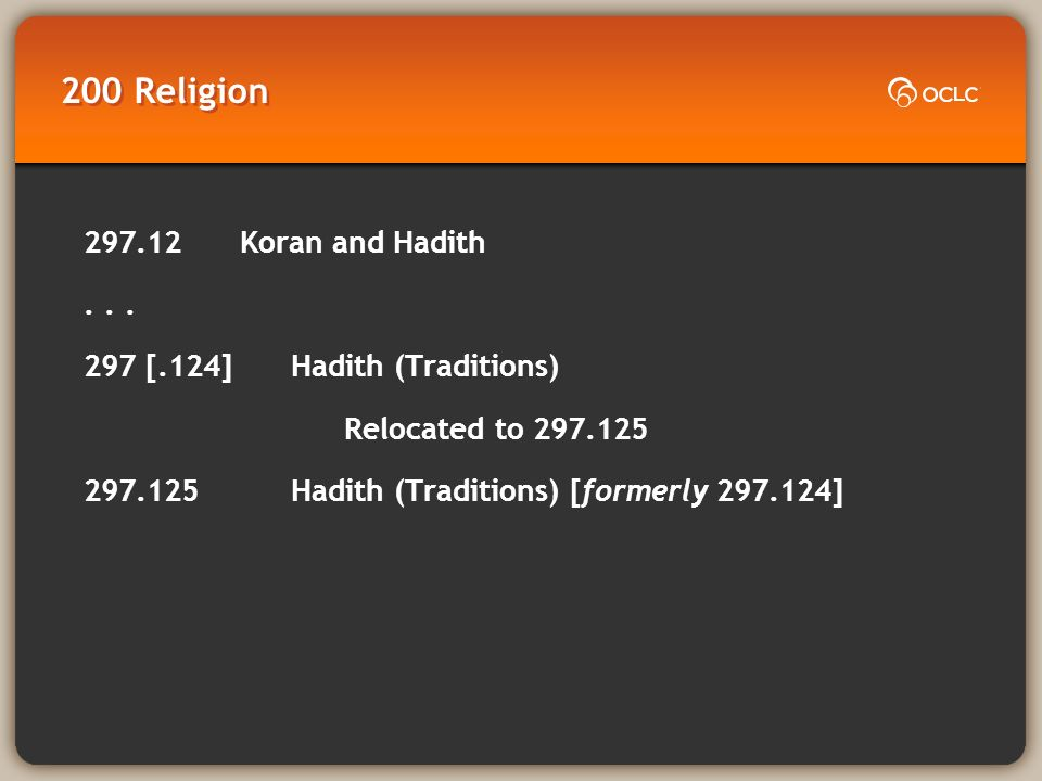 200 Religion 297.12 Koran and Hadith... 297 [.124] Hadith (Traditions) Relocated to 297.125 297.125 Hadith (Traditions) [formerly 297.124]