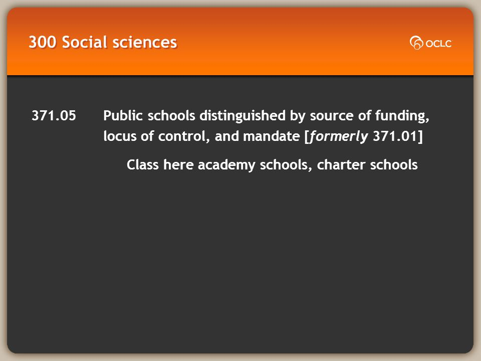300 Social sciences 371.05 Public schools distinguished by source of funding, locus of control, and mandate [formerly 371.01] Class here academy schools, charter schools