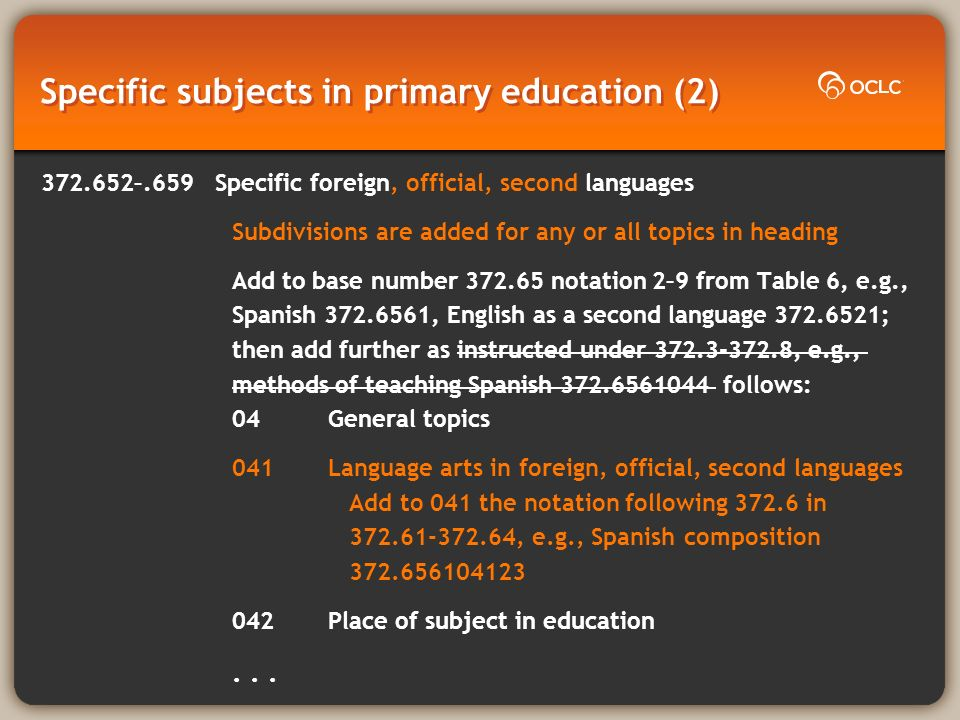 Specific subjects in primary education (2) 372.652–.659 Specific foreign, official, second languages Subdivisions are added for any or all topics in heading Add to base number 372.65 notation 2–9 from Table 6, e.g., Spanish 372.6561, English as a second language 372.6521; then add further as instructed under 372.3-372.8, e.g., methods of teaching Spanish 372.6561044 follows: 04General topics 041Language arts in foreign, official, second languages Add to 041 the notation following 372.6 in 372.61-372.64, e.g., Spanish composition 372.656104123 042Place of subject in education...