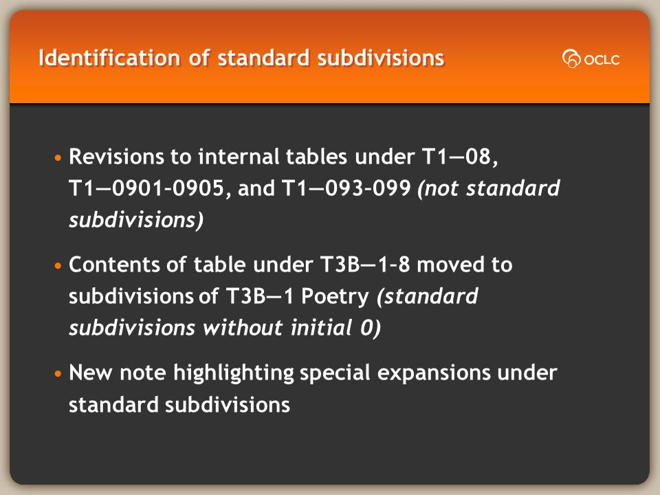 Identification of standard subdivisions Revisions to internal tables under T108, T10901–0905, and T1093–099 (not standard subdivisions) Contents of table under T3B1–8 moved to subdivisions of T3B1 Poetry (standard subdivisions without initial 0) New note highlighting special expansions under standard subdivisions