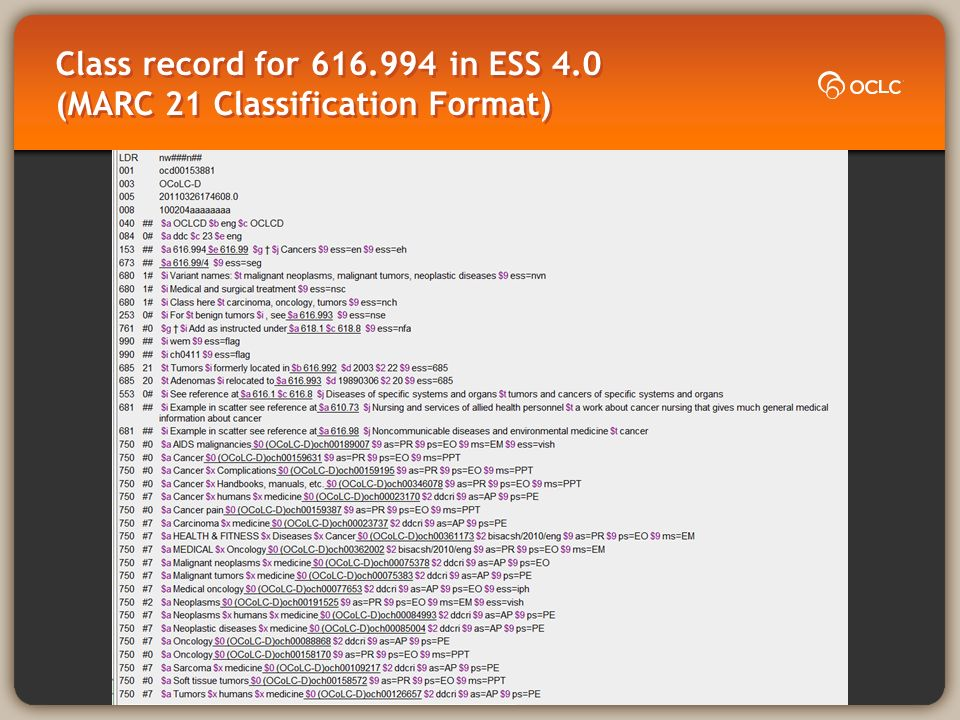 Class record for 616.994 in ESS 4.0 (MARC 21 Classification Format)