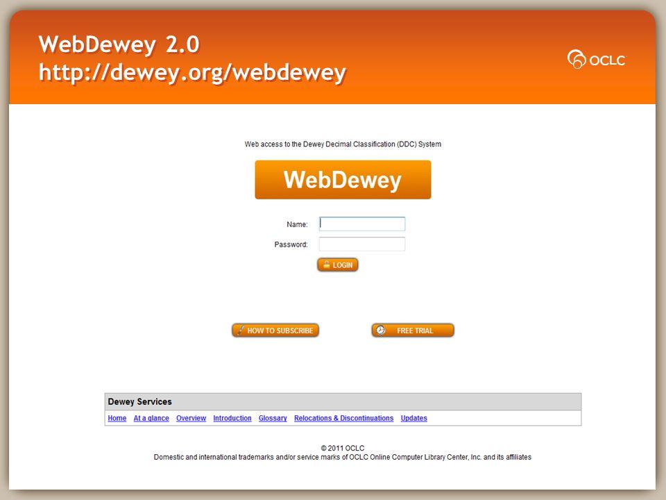 WebDewey 2.0 http://dewey.org/webdewey