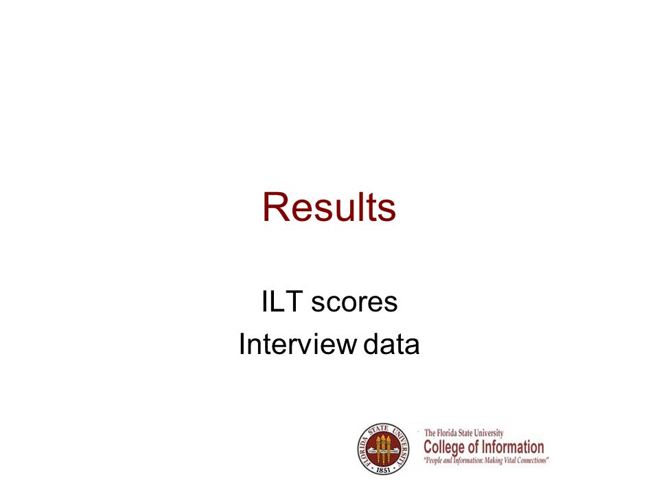 Results ILT scores Interview data