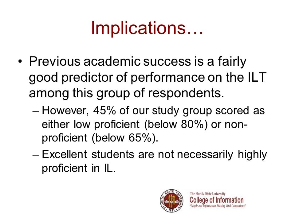 Implications… Previous academic success is a fairly good predictor of performance on the ILT among this group of respondents.