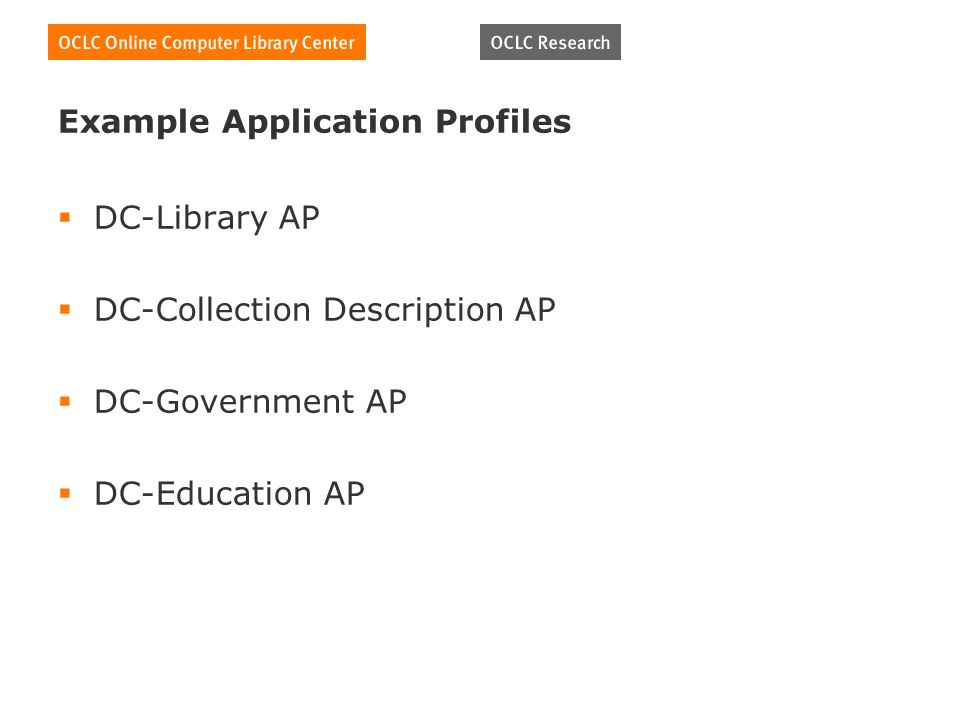 Example Application Profiles DC-Library AP DC-Collection Description AP DC-Government AP DC-Education AP