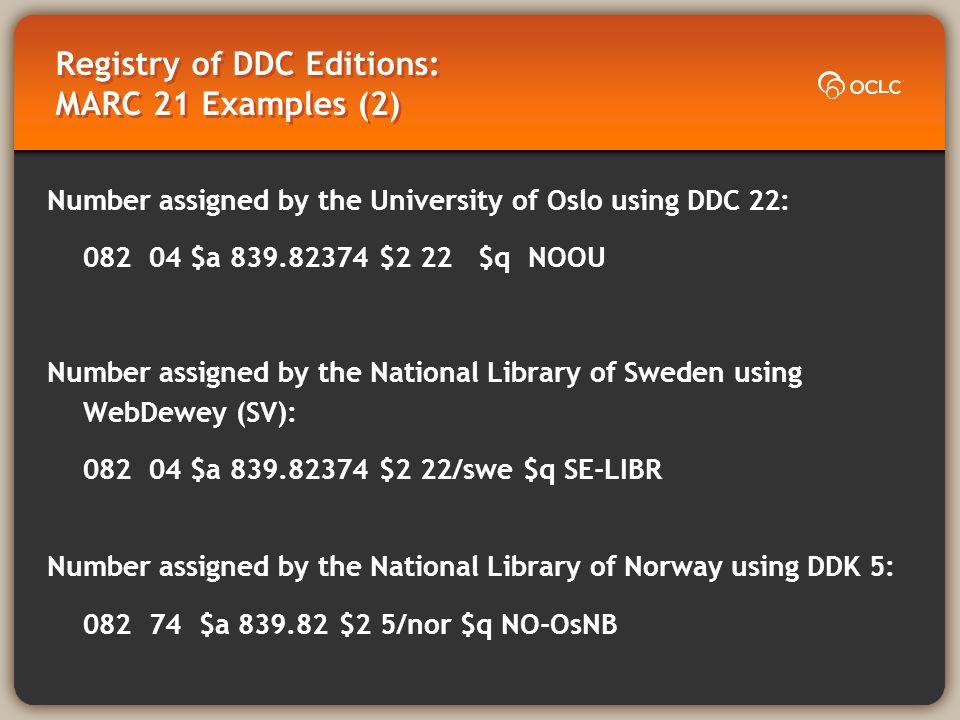 Registry of DDC Editions: Dewey URI Examples (as in Dewey.info) English-language standard editions http://dewey.info/class/839/e22/about.en http://dewey.info/class/839/a14/about.en Translations of standard editions http://dewey.info/class/839/e22/about.sv Translations not tied directly to standard editions http://dewey.info/class/839/x5/about.no