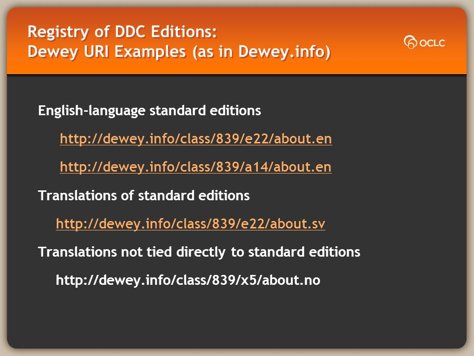 Registry of DDC Editions: Dewey URI Examples (as in Dewey.info) English-language standard editions     Translations of standard editions   Translations not tied directly to standard editions