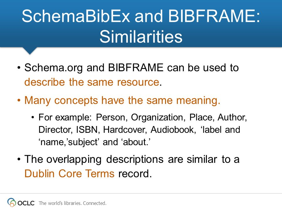 The worlds libraries.Connected. Schema.org and BIBFRAME can be used to describe the same resource.