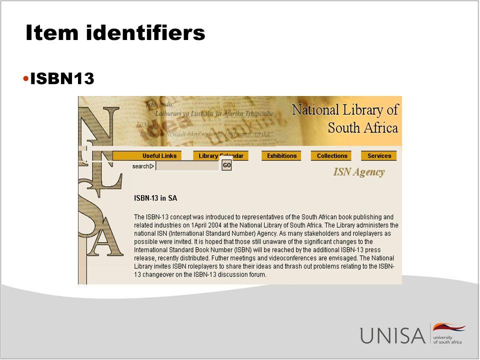 Item identifiers ISBN13