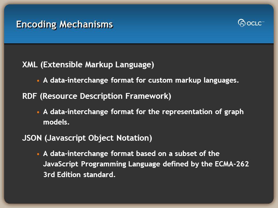 Encoding Mechanisms XML (Extensible Markup Language) A data-interchange format for custom markup languages. RDF (Resource Description Framework) A dat