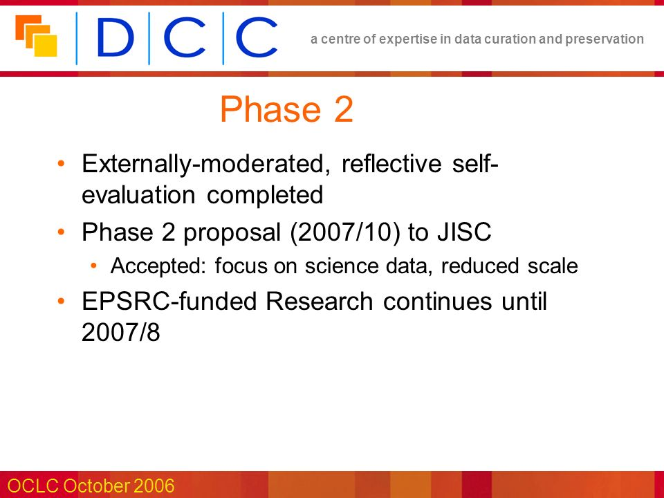 a centre of expertise in data curation and preservation OCLC October 2006 Phase 2 Externally-moderated, reflective self- evaluation completed Phase 2 proposal (2007/10) to JISC Accepted: focus on science data, reduced scale EPSRC-funded Research continues until 2007/8
