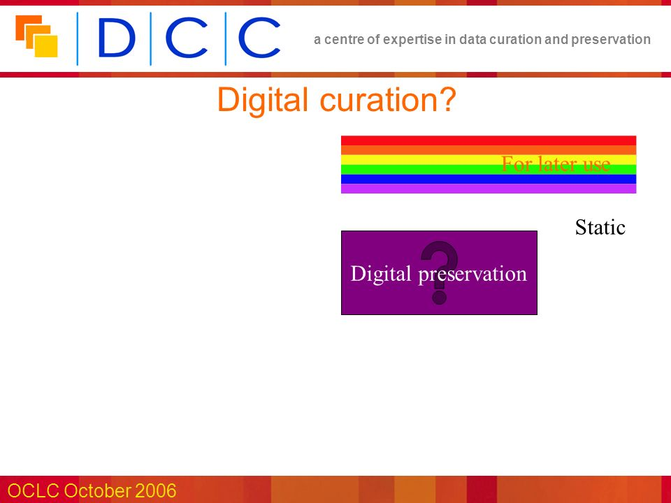 a centre of expertise in data curation and preservation OCLC October 2006 Citation OWL Web Ontology Language Reference W3C Proposed Recommendation 15 December 2003 This version : http://www.w3.org/TR/2003/PR-owl-ref-20031215/ Latest version: http://www.w3.org/TR/owl-ref/ Previous version: http://www.w3.org/TR/2003/CR-owl-ref-2003081 Needs a stable resource to cite… (FRBR works & expressions?)