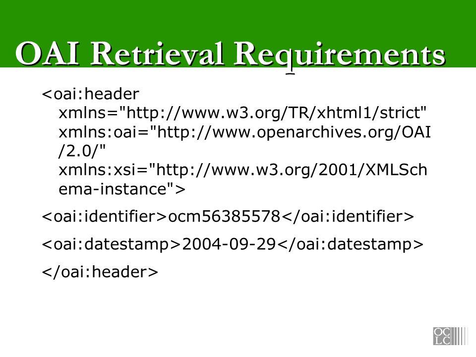 SRW/U-OAI Profile OAI context set for search OAI Header schema for retrieval