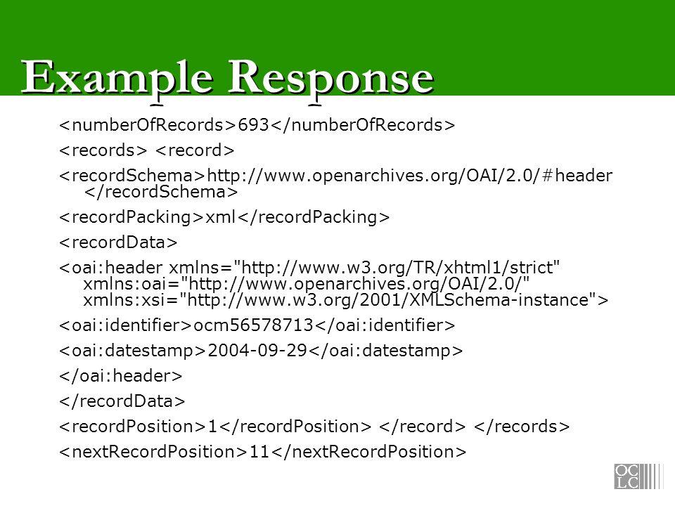 Example Response 693 http://www.openarchives.org/OAI/2.0/#header xml ocm56578713 2004-09-29 1 11