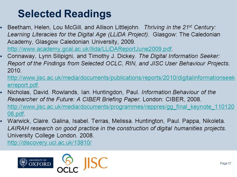 Selected Readings Beetham, Helen, Lou McGill, and Allison Littlejohn.