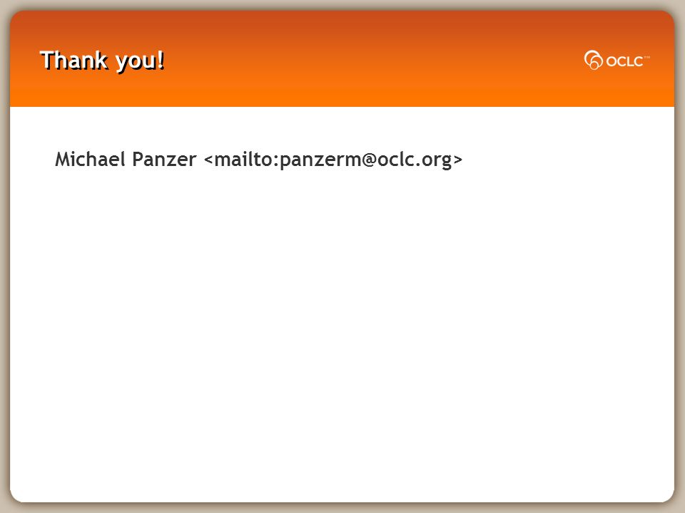 Thank you! Michael Panzer