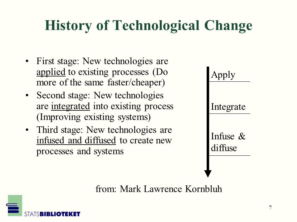 7 History of Technological Change First stage: New technologies are applied to existing processes (Do more of the same faster/cheaper) Second stage: New technologies are integrated into existing process (Improving existing systems) Third stage: New technologies are infused and diffused to create new processes and systems Apply Integrate Infuse & diffuse from: Mark Lawrence Kornbluh