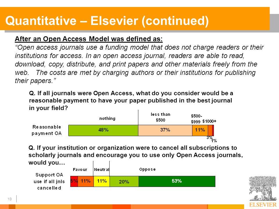13 Quantitative – Elsevier (continued) Q.