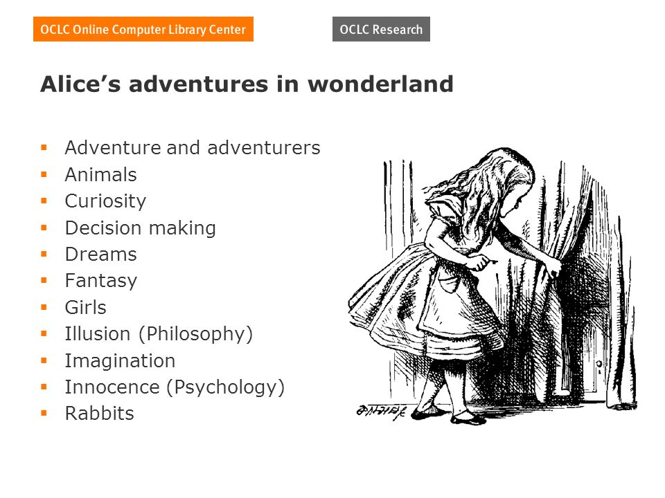 Alices adventures in wonderland Adventure and adventurers Animals Curiosity Decision making Dreams Fantasy Girls Illusion (Philosophy) Imagination Innocence (Psychology) Rabbits
