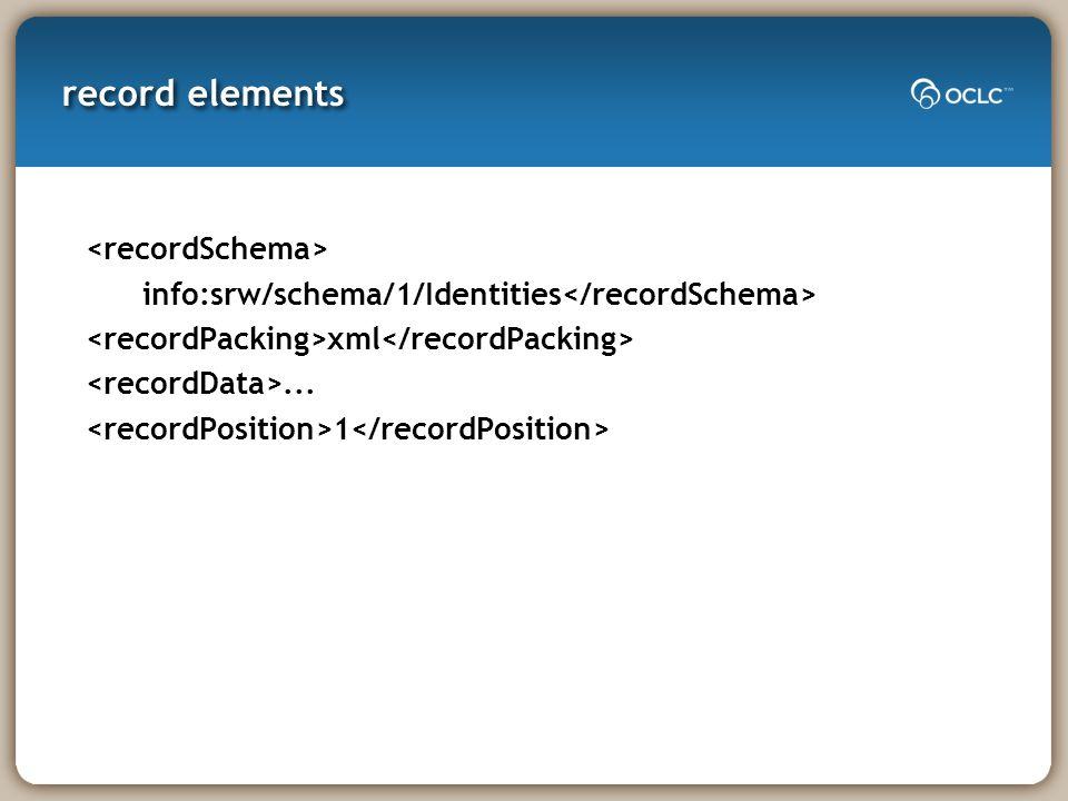 record elements info:srw/schema/1/Identities xml... 1