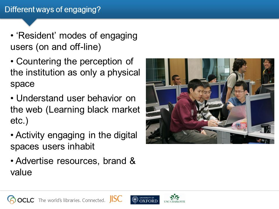 The worlds libraries. Connected. Different ways of engaging? Resident modes of engaging users (on and off-line) Countering the perception of the insti