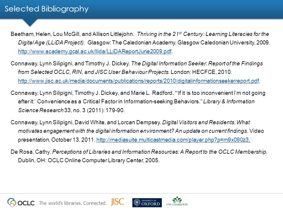 The worlds libraries. Connected. Selected Bibliography Beetham, Helen, Lou McGill, and Allison Littlejohn. Thriving in the 21 st Century: Learning Lit