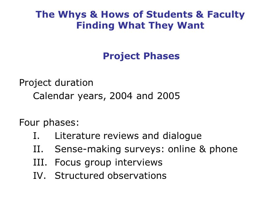 The Whys & Hows of Students & Faculty Finding What They Want Project Phases Project duration Calendar years, 2004 and 2005 Four phases: I.Literature reviews and dialogue II.Sense-making surveys: online & phone III.Focus group interviews IV.Structured observations