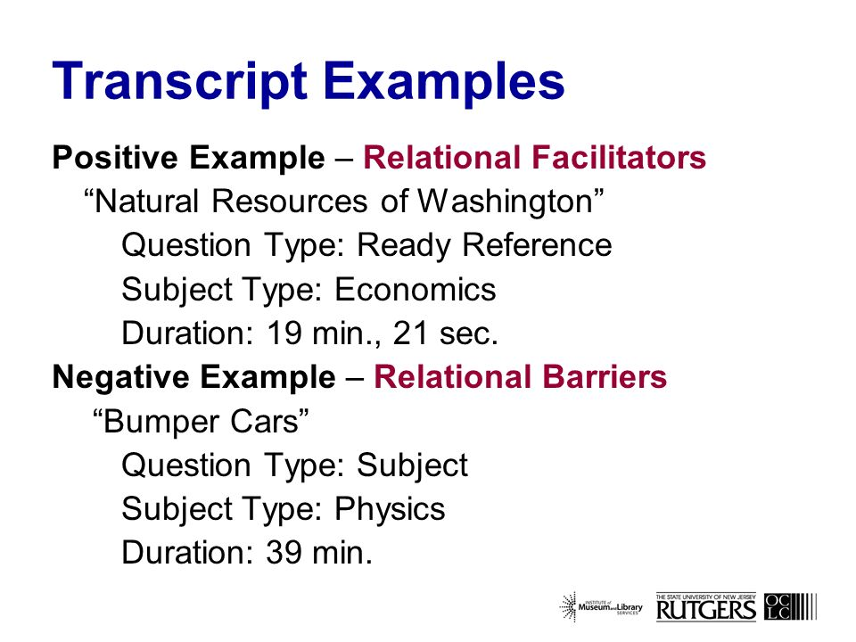 Transcript Examples Positive Example – Relational Facilitators Natural Resources of Washington Question Type: Ready Reference Subject Type: Economics Duration: 19 min., 21 sec.