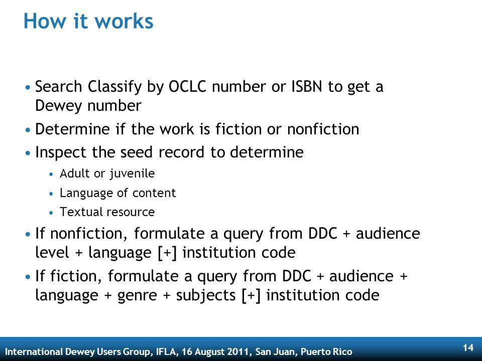 International Dewey Users Group, IFLA, 16 August 2011, San Juan, Puerto Rico 14 How it works Search Classify by OCLC number or ISBN to get a Dewey number Determine if the work is fiction or nonfiction Inspect the seed record to determine Adult or juvenile Language of content Textual resource If nonfiction, formulate a query from DDC + audience level + language [+] institution code If fiction, formulate a query from DDC + audience + language + genre + subjects [+] institution code