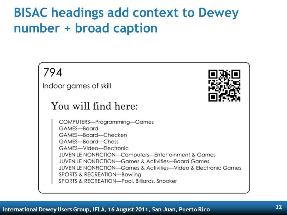 International Dewey Users Group, IFLA, 16 August 2011, San Juan, Puerto Rico 32 BISAC headings add context to Dewey number + broad caption