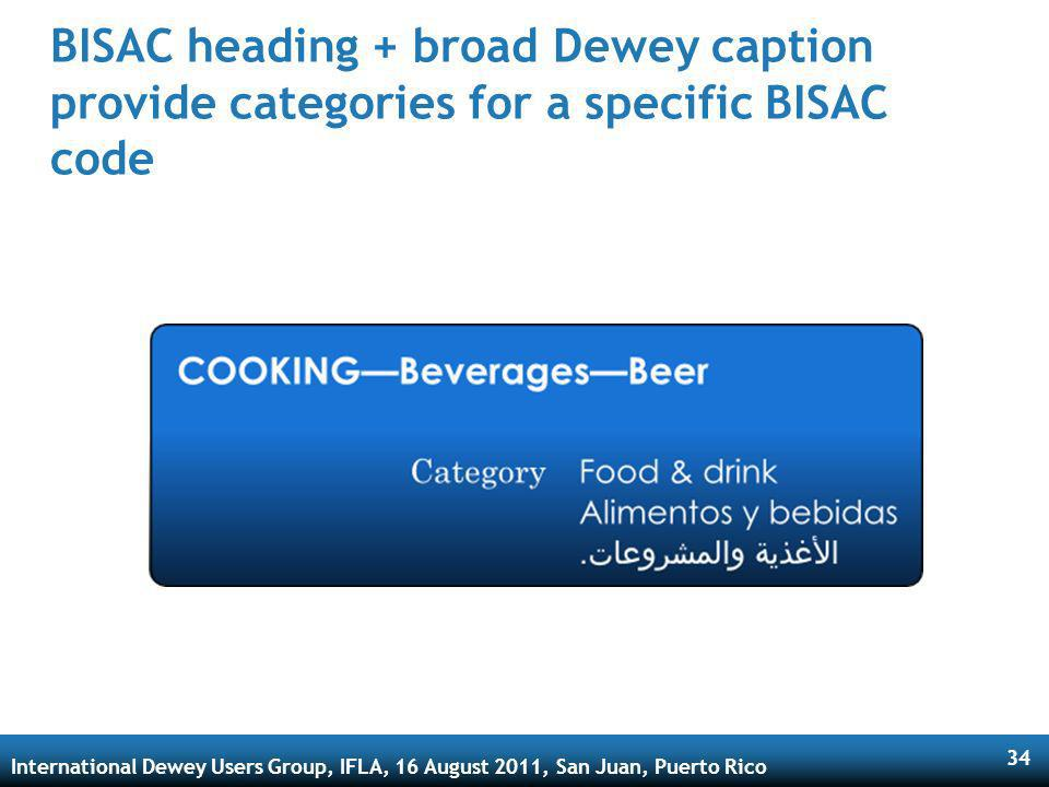 International Dewey Users Group, IFLA, 16 August 2011, San Juan, Puerto Rico 34 BISAC heading + broad Dewey caption provide categories for a specific BISAC code