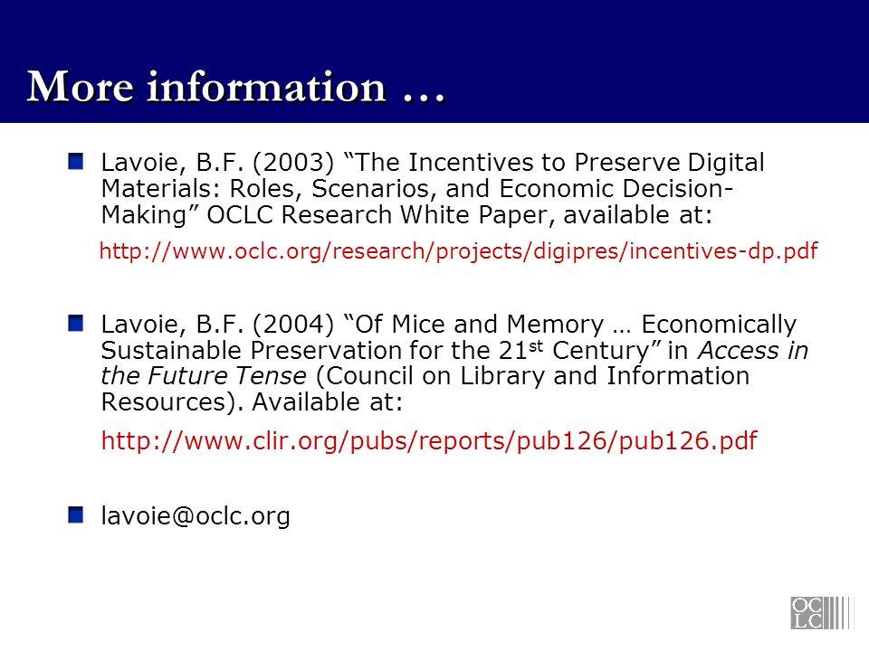 More information … Lavoie, B.F.