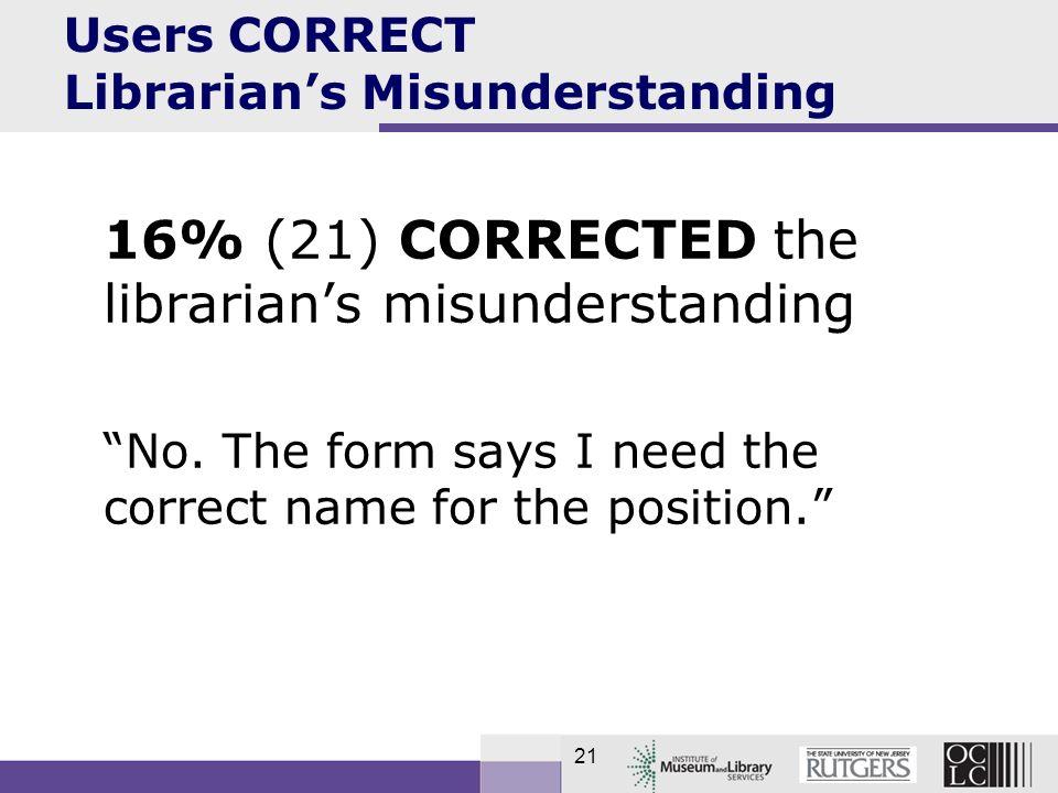 21 Users CORRECT Librarians Misunderstanding 16% (21) CORRECTED the librarians misunderstanding No.